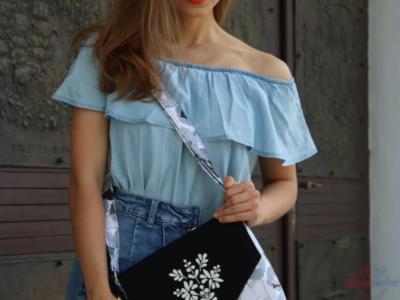 Textilná kabelka s ručnou výšivkou