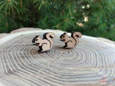 Drevené náušnice veveričky a orech