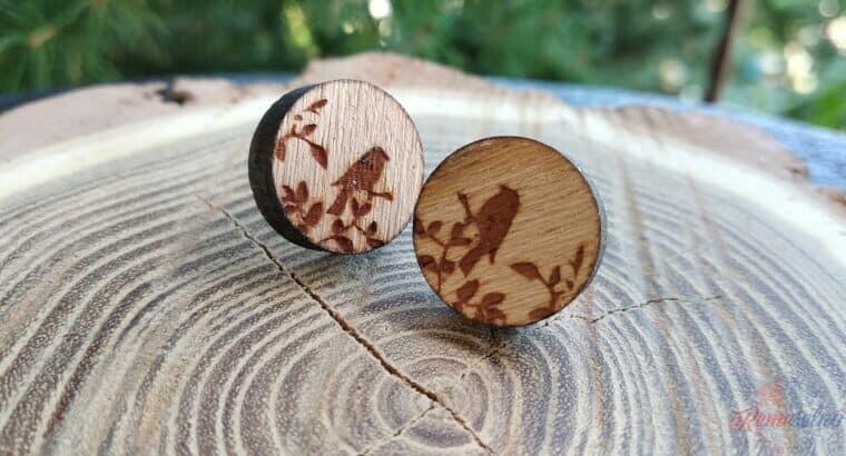 Drevené náušnice vtáky