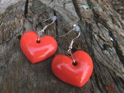 náušničky lososové srdcia