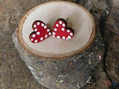 drevené napichovačky srdiečka bodky