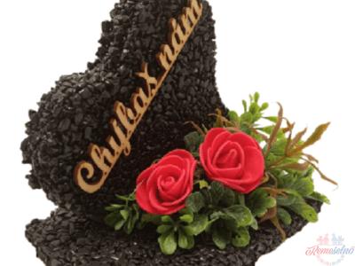 Kamienkové srdce čierne s červenými kvetmi