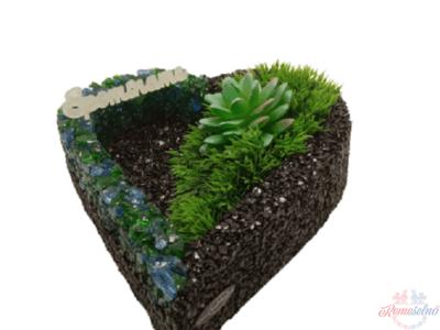 Kamienkové srdce s modrozelenou drvinou