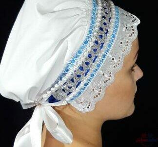 Biely bavlnený čepiec pre nevestu